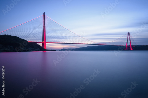 фотография  New bridge of Istanbul, Yavuz Sultan Selim Bridge with long exposure