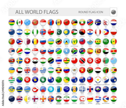 Round World Flags Vector Collection Fototapete