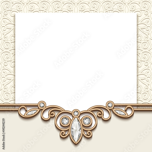 Vintage Invitation Card With Jewelry Gold Border Decoration