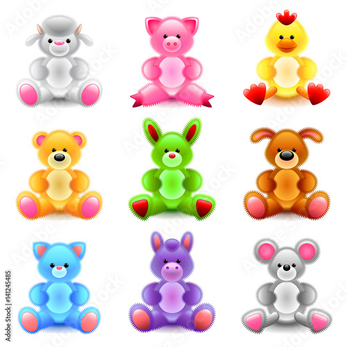 Soft toys icons vector set #141245485
