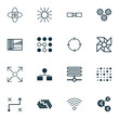 Set Of 16 Robotics Icons. Includes Laptop Ventilator, Algorithm Illustration, Hive Pattern And Other Symbols. Beautiful Design Elements.