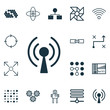 Set Of 16 Machine Learning Icons. Includes Computing Problems, Atomic Cpu, Radio Waves And Other Symbols. Beautiful Design Elements.