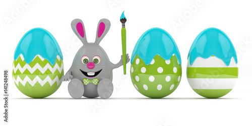 3d-rendering-of-easte-bunny-with-painted-eggs