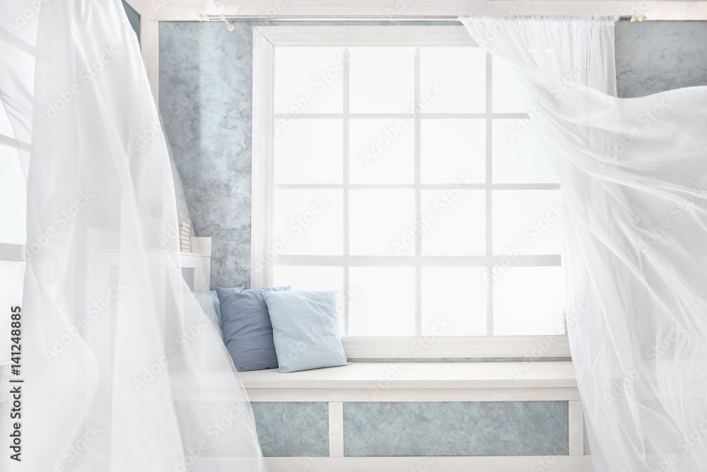 Fototapeta Bright interior, window with curtains, white window sill, room, home