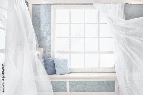 Plakat Jasne wnętrze, okno z zasłonami, biały parapet, pokój, dom