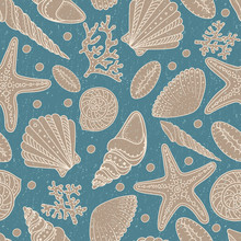 Sea Shells, Seastars And Corals Seamless Background. Vintage Shabby Seamless Pattern For Textile, Print, Wallpaper. Sea Life Pattern.