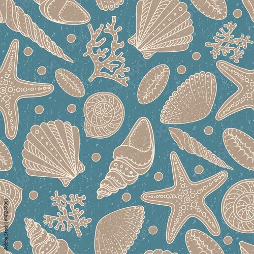 denne-skorupy-seastars-i-korala-bezszwowy-tlo-vintage-brudny-wzor-na-tekstylne-drukowanie-tapety-wzor-zycia-morskiego