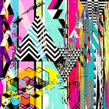 Abstract Background, With Triangles, Stripes, Strokes And Splashes