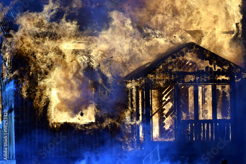 Close up of burning house. Tablou Canvas