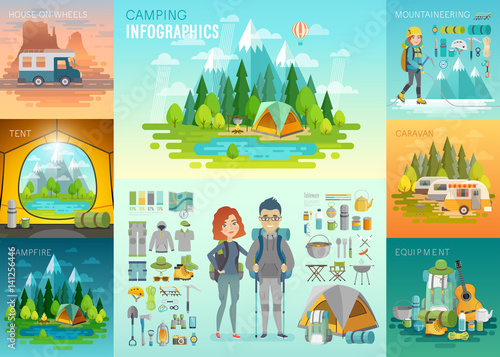 Camping Infographic, mountaineering, caravan, house on weels, equipment.
