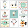 Card template collection for banners,Flyers,Placards with feather,girl,rabbit,wild and tiger in boho style