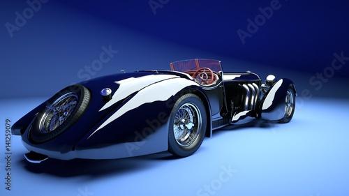 luksusowa-dwudrzwiowa-czarna-limuzyna-na-niebieskim-tle-zdjecie-3d