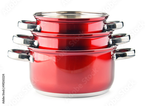 Photo  Steel pots isolated on white background