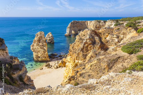 Printed kitchen splashbacks Coast Top view of idyllic beach of Marinha in Lagoa - Algarve Portugal