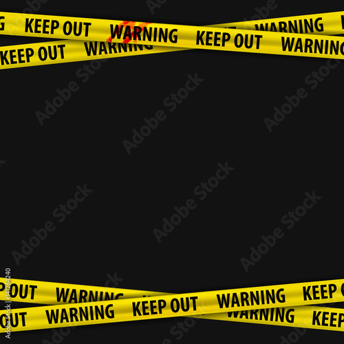 Police yellow stripes keep out with a stain of blood and warning signs Canvas Print