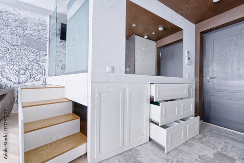 Foto op Canvas Trappen Russia Moscow - Modern interior design dressing room of urban real estate