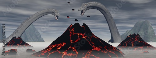 Photo  Diplodocus dinosaurs and volcano - 3D render