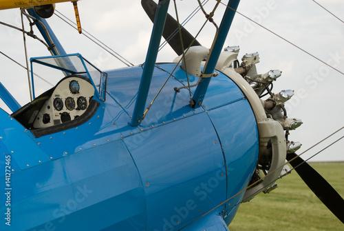 Biplane detail with radial engine © Jaromr