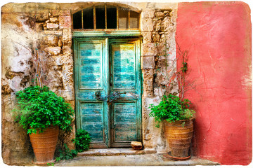 Fototapeta Colorful pictorial old streets of Greek islands, Crete