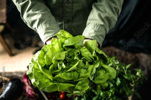 Valokuva  Organic vegetables on wood