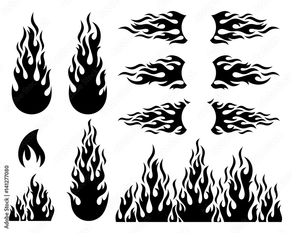 Fototapeta Fire flame design elements collection