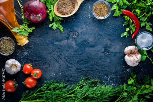 Foto op Canvas Eten Big set organic food. Fresh raw vegetables. On a black chalkboard.