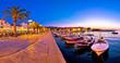 Supetar waterfront evening panoramic view