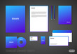 Corporate identity template for technology company, modern stationery template design for business. Broshure cover, letterhead, envelope, business card, pen, CD cover. Strict brand identity.