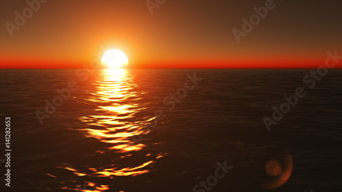 Garden Poster Brown Flying above calm ocean surface on peaceful summer evening at beautiful golden and orange sunset.
