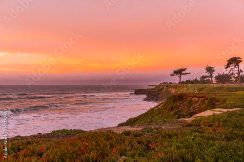 Amazing view of sunrise near Pacific coast, Santa Cruz, California Canvas Print