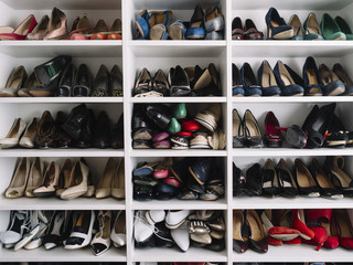 Woman's shoes in the rack