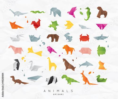 Animals origami set color Canvas Print