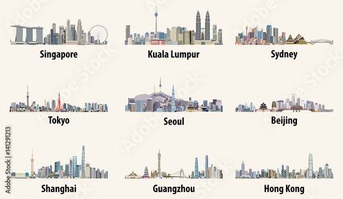 Photo  vector illustrations of Singapore, Kuala Lumpur, Sydney, Tokyo, Seoul, Beijing,