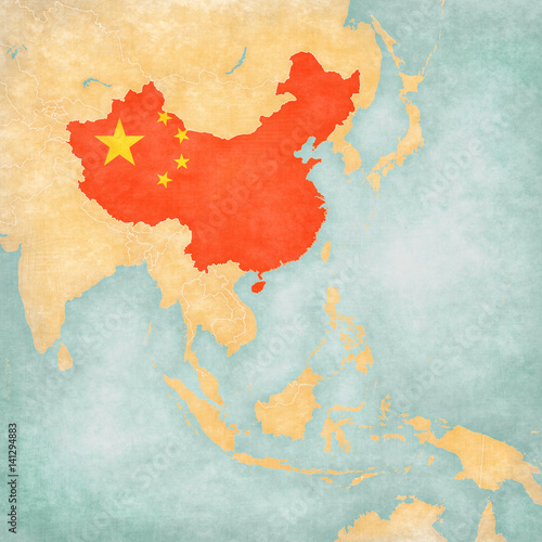 Obraz na plátně Map of East Asia - China