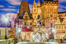 Prague, Charles Bridge, Tower, The Church Of St. Nicholas, Czech Republic. Twilight Scenery. Popular European Travel Destination.