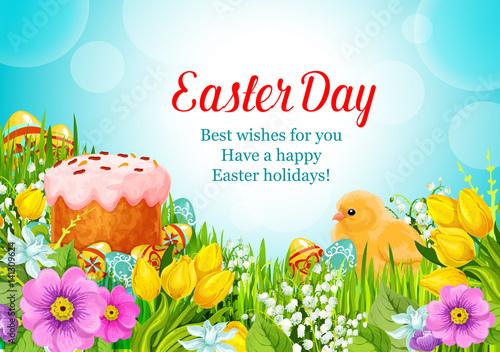 Deurstickers Vlinder Easter vector greeting paschal cake, eggs, flowers