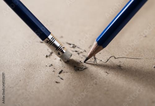 Valokuva  Write sharpened and erase concept
