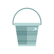 Grey Garden Bucket Icon. Water Pail Metal Container For Gardening Or Housework.