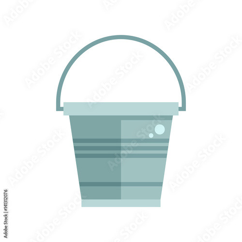 Grey garden bucket icon. Water pail metal container for gardening or housework. Wall mural