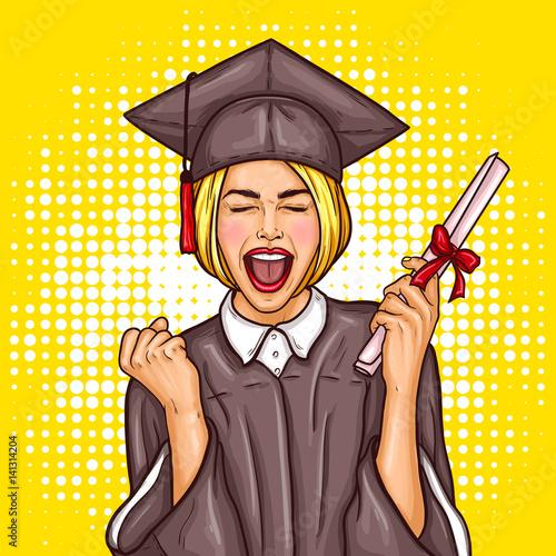 pop-art-wektor-ilustracja-podekscytowany-mloda-dziewczyna-absolwentka-w-czapce-i-plaszcz-z-dyplomem-uniwersyteckim-w-reku-koncepcja