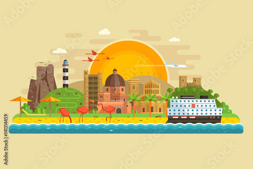 Obraz na plátně Travel summer island landscape in flat design inspired by Cagliari, Sardinia
