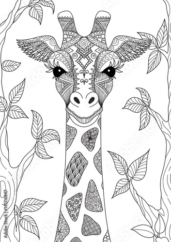 Line art design of giraffe for adult coloring book page and design element Canvas Print