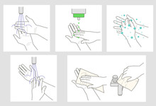 Wash Hands Vector Instruction