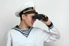 Sailor Looking Through Binoculars