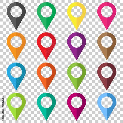 Fényképezés  Set vector pin icons