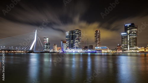 Staande foto Rotterdam Rotterdam Skyline with Erasmus Bridge in the night, Netherlands