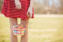Young Girls Legs And Basket Wi...