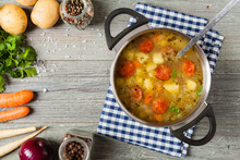 Traditional Potato Soup In Pot.
