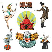 Vintage Hipster Circus Collection With Carnival, Fun Fair