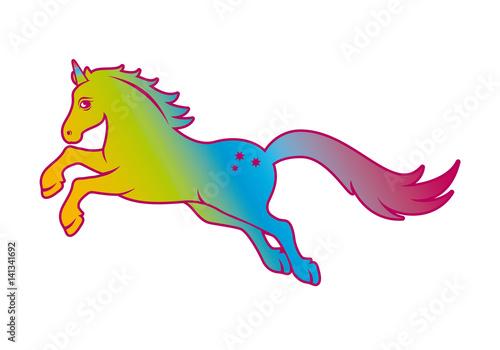 Fotobehang Draw Unicorn rainbow vector. Fairytale horse on a white background